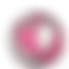 Bouton pression snap 18mm cœur rose et gris recousu