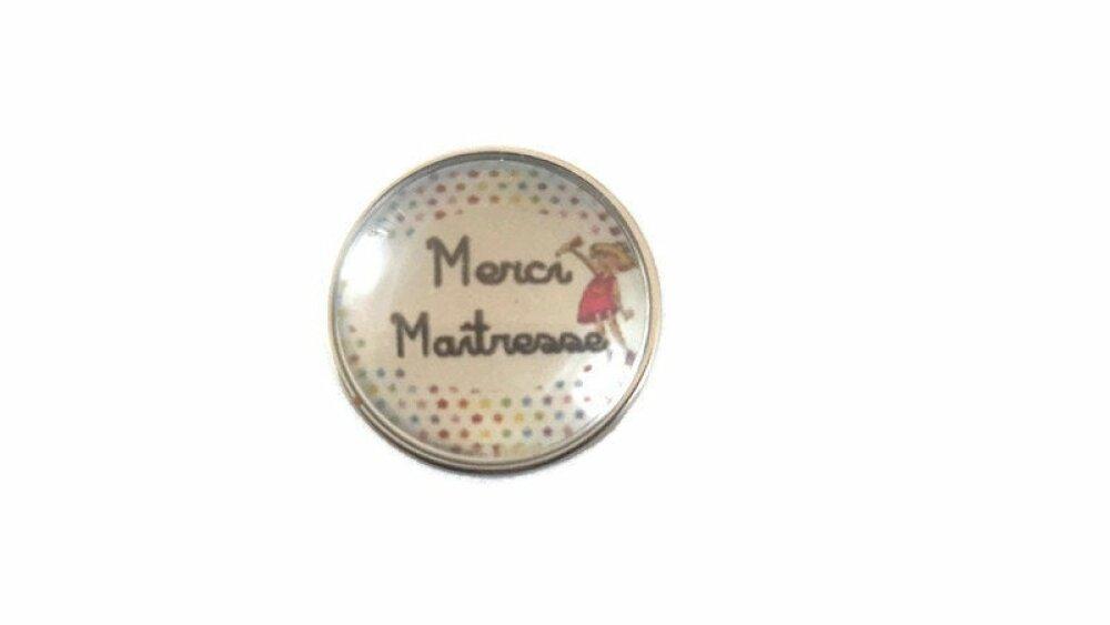 bouton pression à cabochon de verre 18mm merci maîtresse
