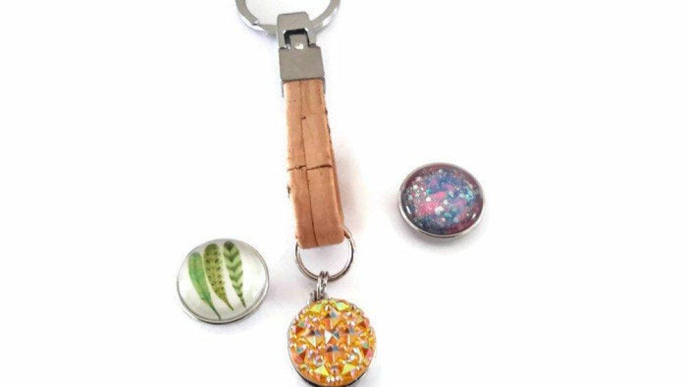 Porte clé snap 18mm en liège et ses 3 boutons pressions