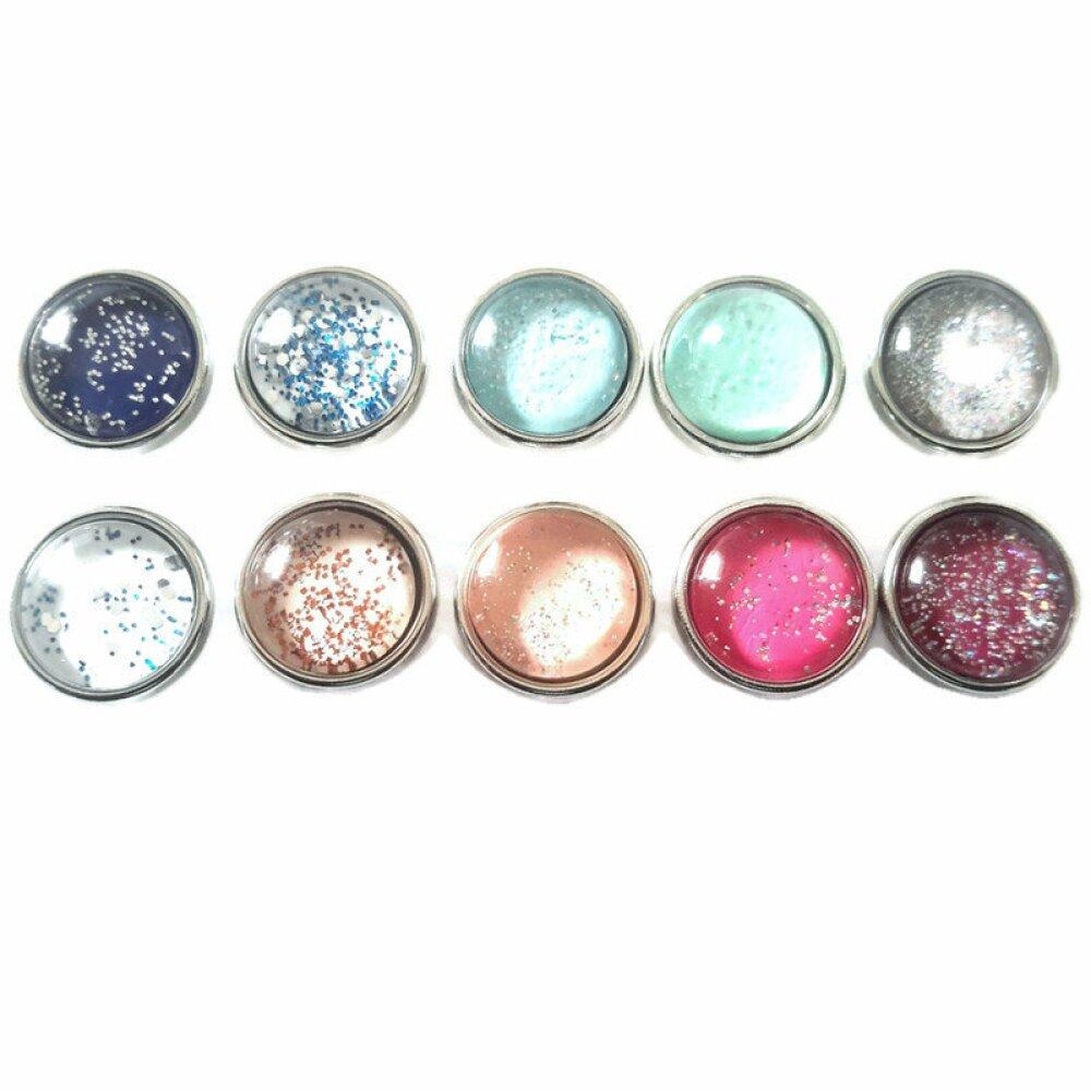 Lot de 10 boutons pression snap différents colors à paillettes à cabochon de verre 12MM MINI
