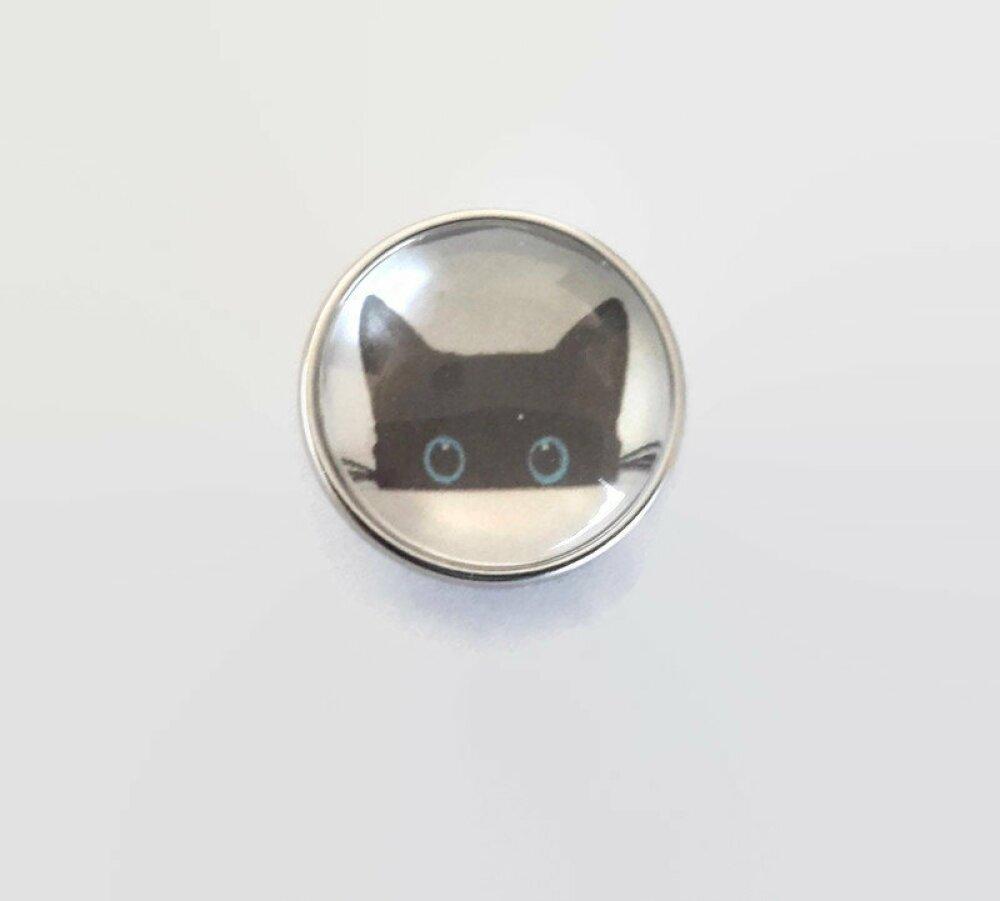 bouton pression à cabochon de  verre 18mm chat noir aux yeux bleus