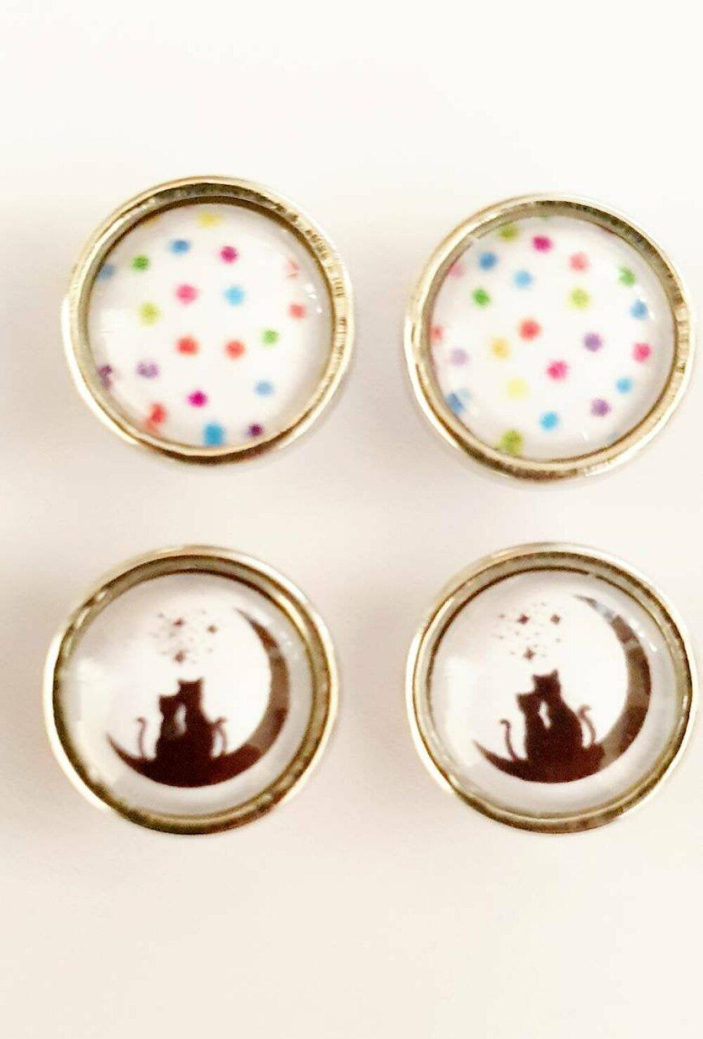 Paire de boutons pression snap MINI 12mm au choix : chat, pois, carte