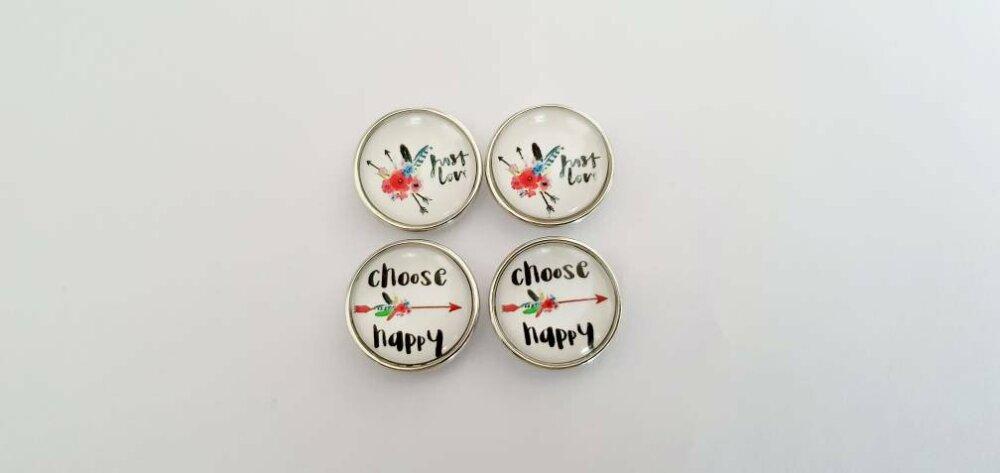 Lot de 4 boutons pression snap 18mm  à cabochon de verre 18mm choose happy avec fleche et plumes et fleurs multicolores juste love