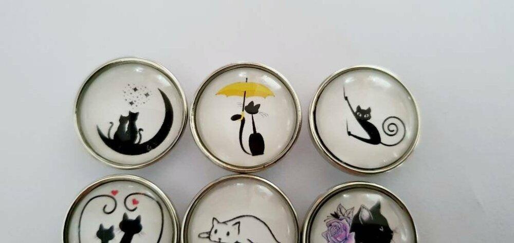 Snap bouton pression 18mm au choix : jolis chats avec cœurs, fleur, parapluie,  sous la lune, sur une gamme de musique...