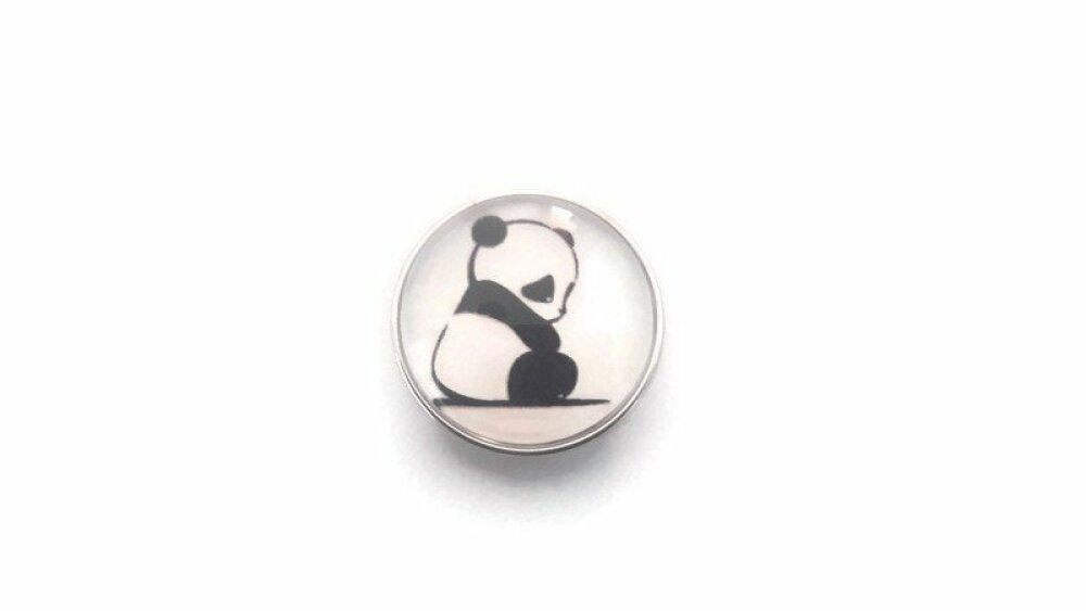 bouton pression à cabochon de verre 18mm joli panda