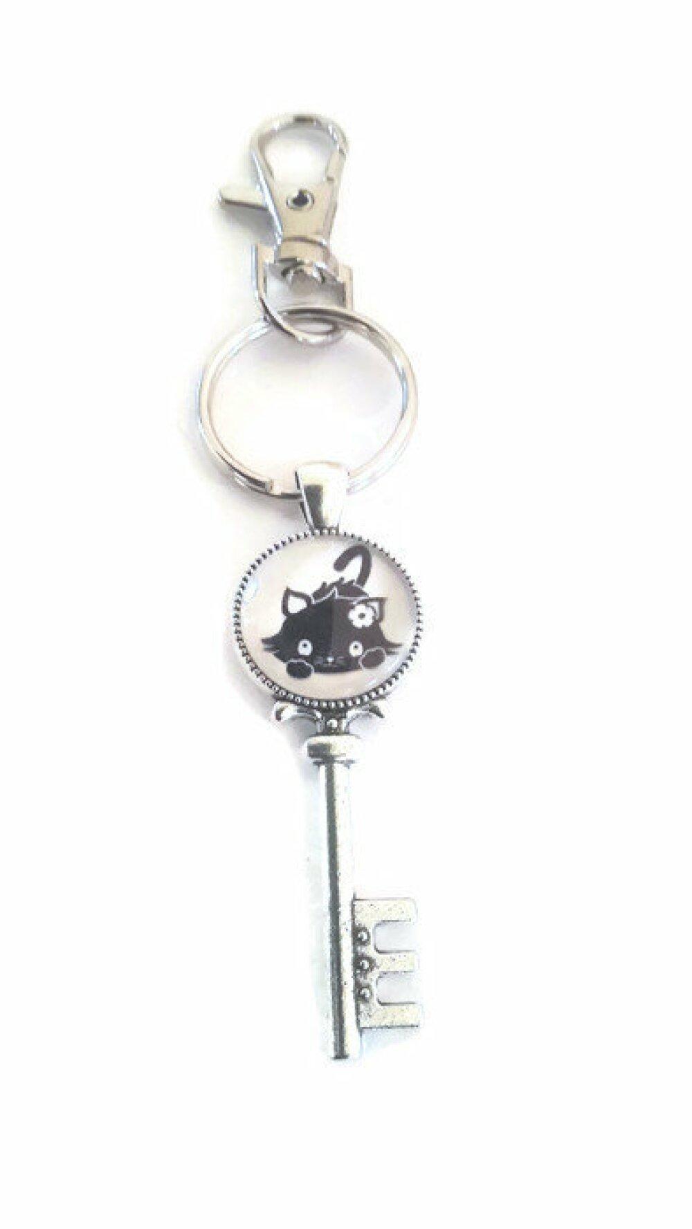 Porte clé à cabochon de verre 18mm joli chat