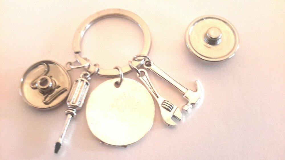 Porte clé à bouton pression 18mm bricolage superpapa