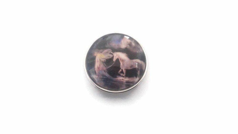 bouton pression à cabochon de verre 18mm jolie fée et son cheval licorne