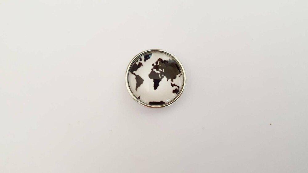 Snap bouton pression à cabochon de verre 18mm continent du monde en noir sur fond blanc