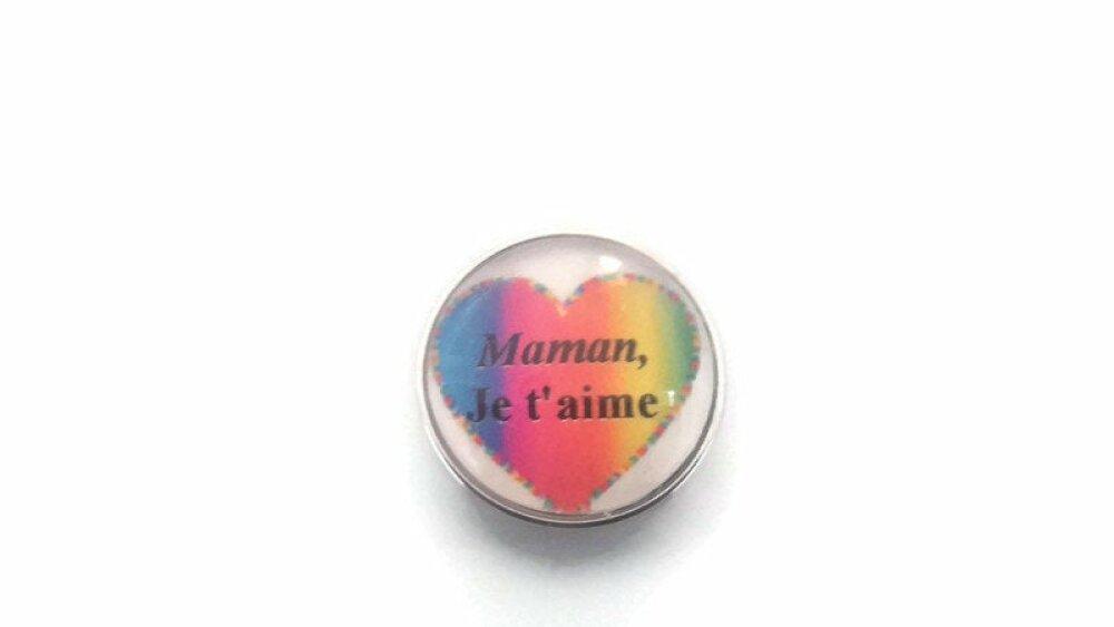 bouton pression à cabochon de verre 18mm maman je t ' aime dans un coeur multicolore