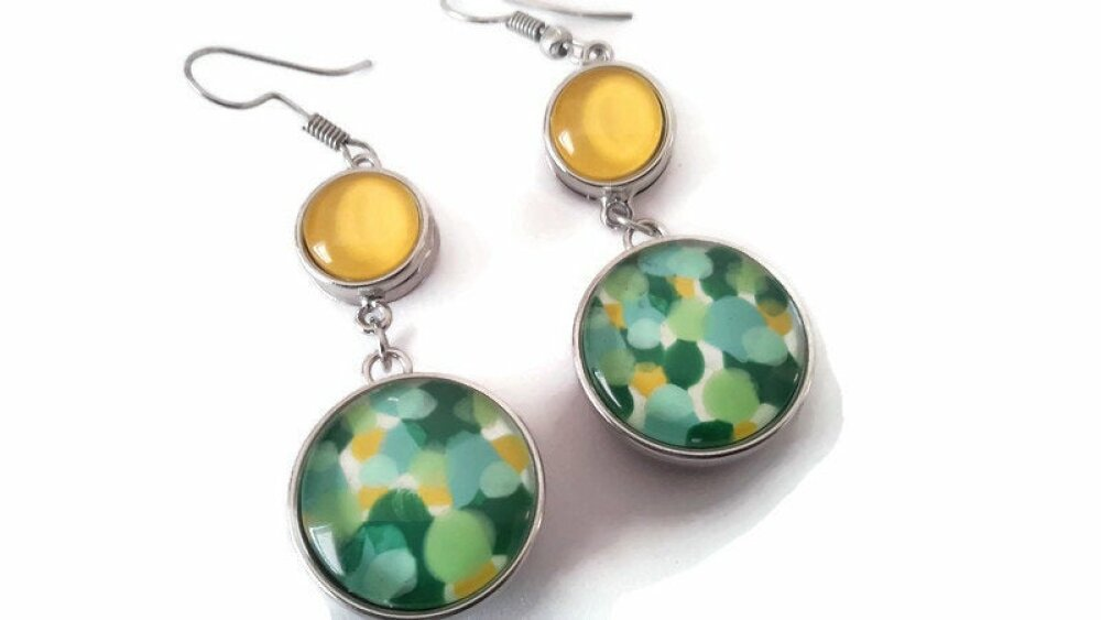 Boucles d'oreilles SNAP avec 4 boutons pression jaunes et à ronds verts,bleu et jaune