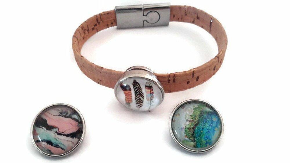 Bracelet snap 18mm en liège argenté et ses 3 boutons pression