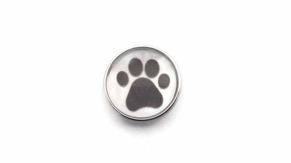bouton pression à cabochon de verre  18mm empreinte de patte de chat