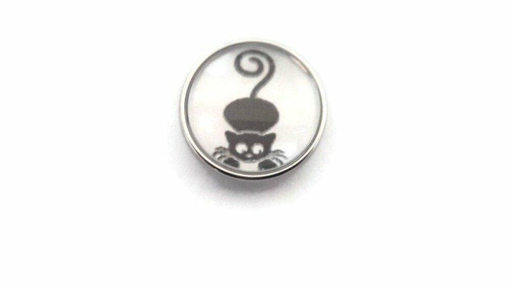 bouton pression à cabochon de  verre 18mm petit chat noir