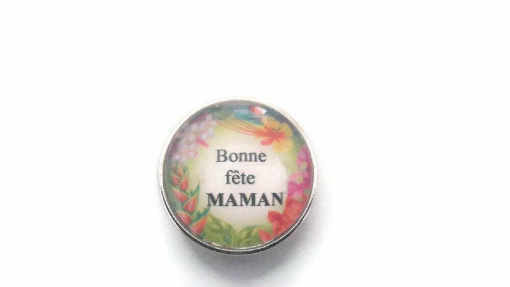 bouton pression à cabochon de verre 18mm bonne fête maman à motif végétal