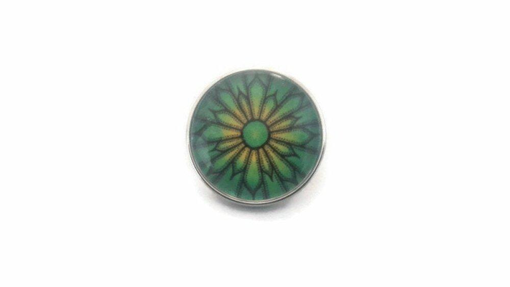 bouton pression à cabochon de verre 18mm motif abstrait dans les tons verts