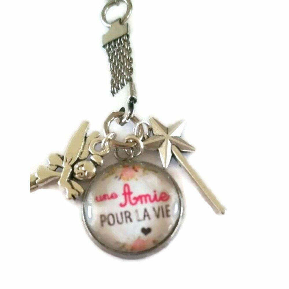 Porte clé avec cabochon 18mm amie pour la vie avec breloques fée et baguette magique.