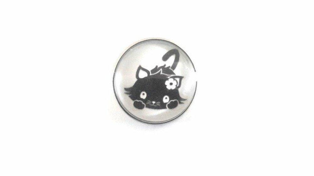 bouton pression à cabochon de verre 18mm joli petit chat