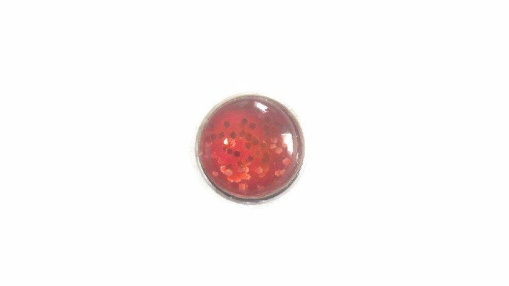 bouton pression rouge à paillettes rouges  MINI 12MM