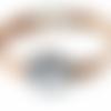 Bracelet en liège argenté à cabochon de verre à motif floral