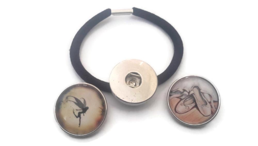 Élastique à cheveux avec un support SNAP bouton pression 18mm et 2 boutons pression thème chausson de danse et fée