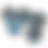 Bouton pression snap  mini 12mm à cabochons de verre bleues à paillettes