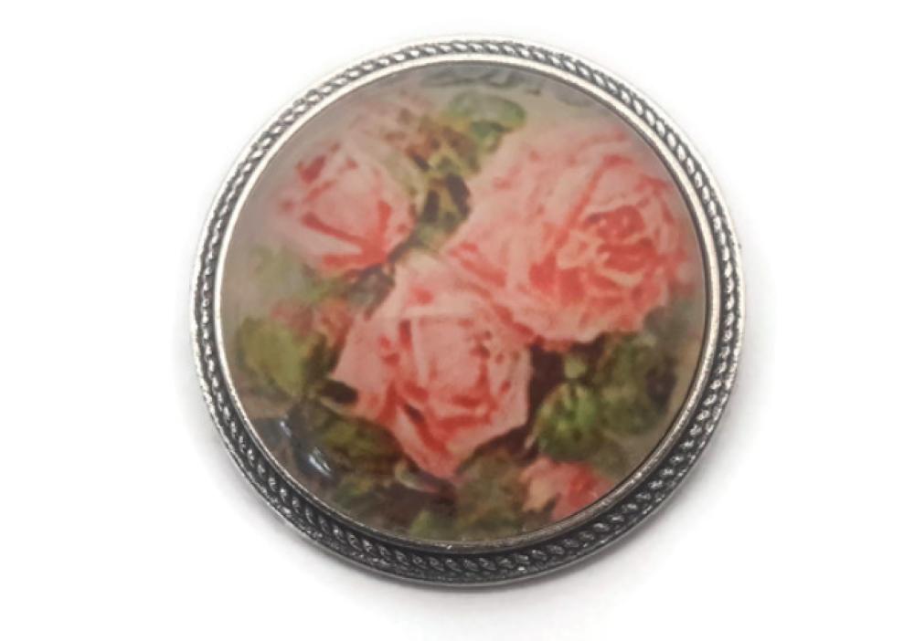 Broche avec cabochon de verre motifs roses de verre 30mm à motifs roses