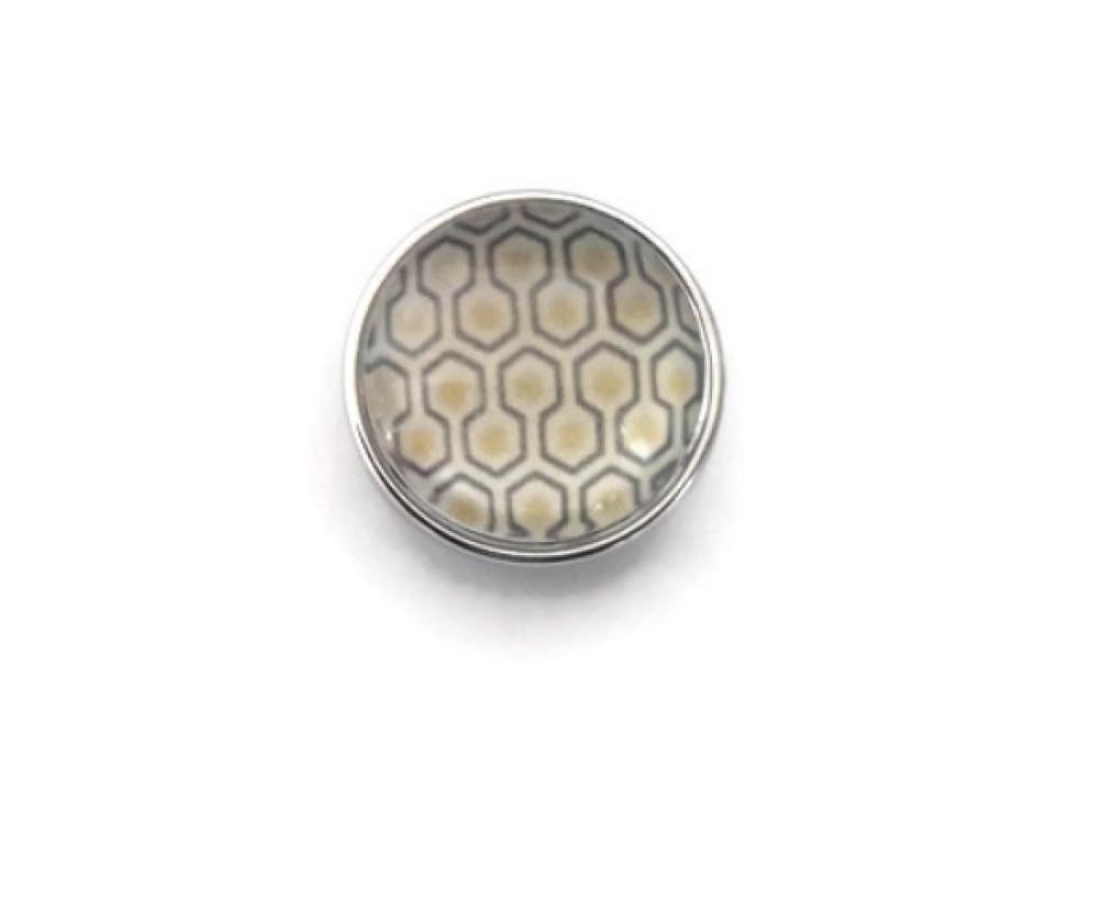 Bouton pression à cabochon de verre 18mm à motif abstrait jaune et gris