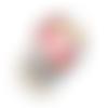 Bouton pression snap à cabochon de verre 18mm à fleurs multicolores sur fond blanc