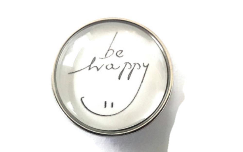 bouton pression SNAP 18MM à cabochon de verre be happy :)