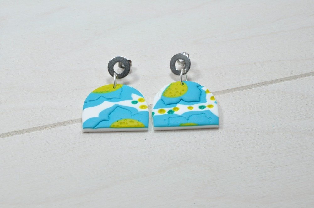 Boucles d'oreille pendantes en argile polymère