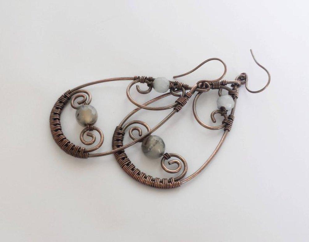 Boucles d'oreilles rustiques gouttes cuivre