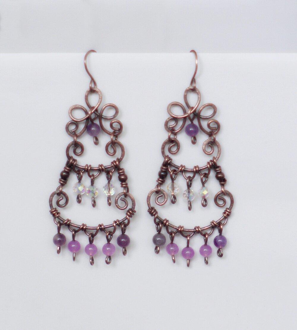 Boucles d'oreille bohème, Boucles d'oreilles cuivre et jade rose