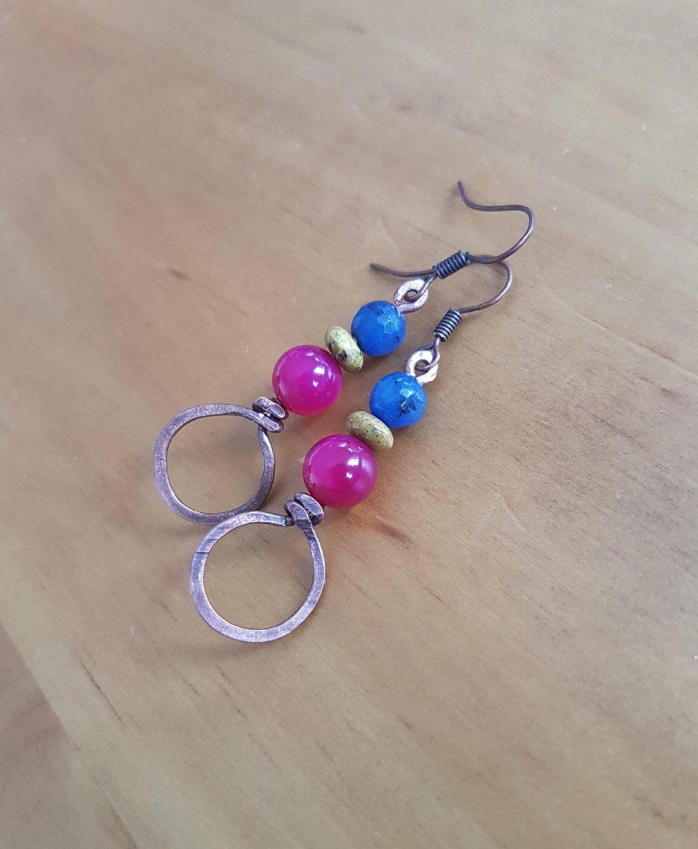 Boucles d'oreille en cuivre et perles de jade