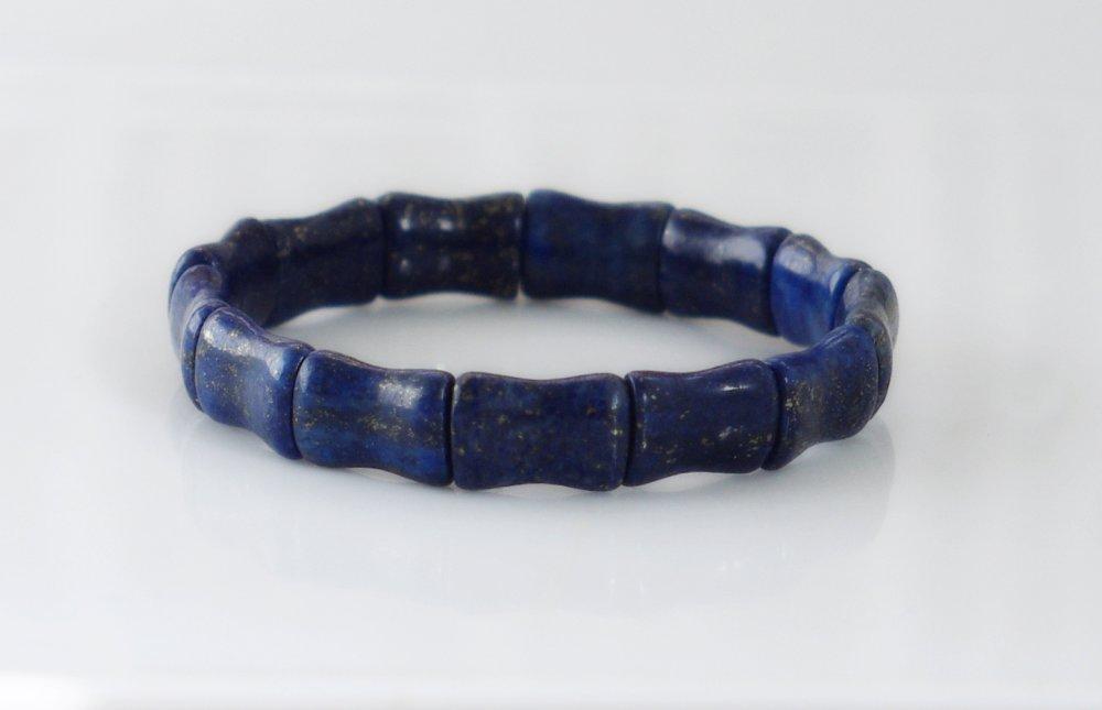 Lapis lazuli bracelet, bracelet bleu, Bracelet elastique,