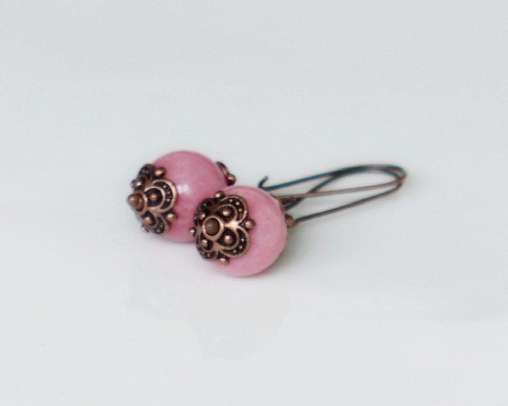 Boucles d'oreilles cuivre et perles de verre rose