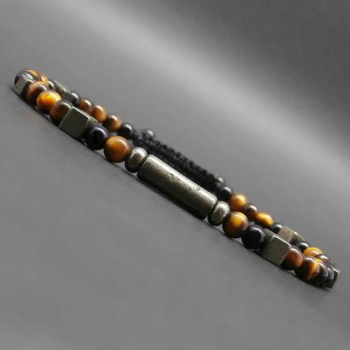 Bracelet fin homme, tressé, pierres gemmes, œil de tigre, onyx, tube et cubes en pyrite ø 4 mm r579