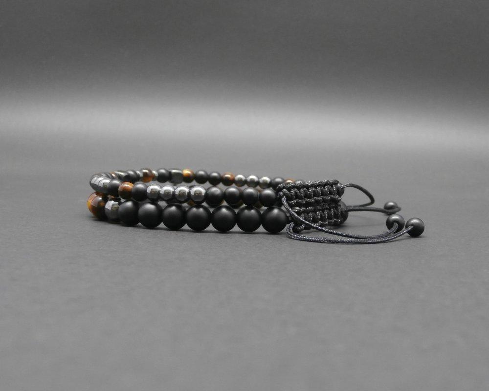 Duo de bracelets homme, pierres naturelles, onyx noir mat, œil de tigre, roche volcanique, hématite Ø 4 mm et 6 mmm