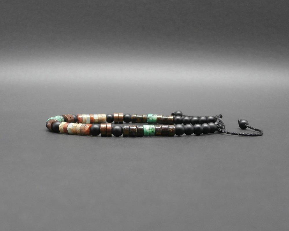 Bracelet fin homme, heishi, turquoise africaine, bronzite, jaspe impression, onyx mat, disques en cuivre antique africaines Ø 4 mm R878