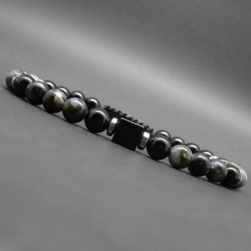 Bracelet homme tressé, pierres gemmes, opale grise, onyx, rondelles en hématite argentée, cube en onyx ø 6 mm r583