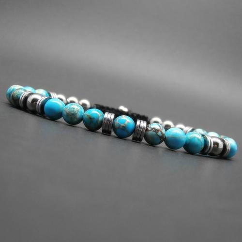 Bracelet homme tressé, pierres gemmes, jaspe impérial turquoise, perles et heishi d'hématite argentée ø 6 mm r811