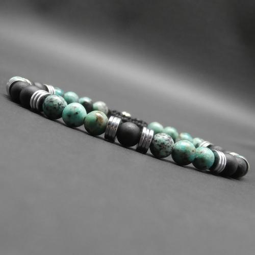 Bracelet tressé homme, pierres gemmes, tourmaline noire mate, turquoise africaine, heishi en hématite argentée ø 6 mm r366