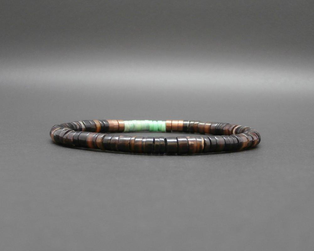 Bracelet homme, stretch, heishi coquillage brun, rondelles en opale verte, disques ethniques africaines cuivre vieilli Ø 5 mm