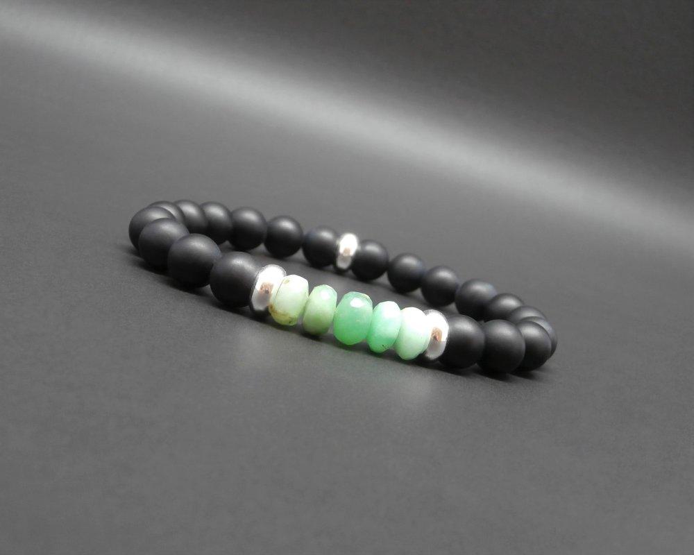 Bracelet homme, stretch, pierres fines rondelle facettée en chrysoprase, gemmes, onyx noir mat, rondelles en argent 925 Ø 8 mm