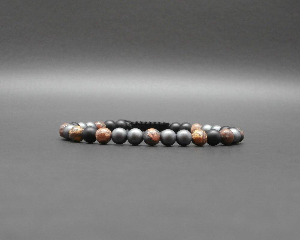 Bracelet homme, tressé, ajustable, pierres naturelles, hématite mate, jaspe léopard, onyx noir mat Ø 6 mm