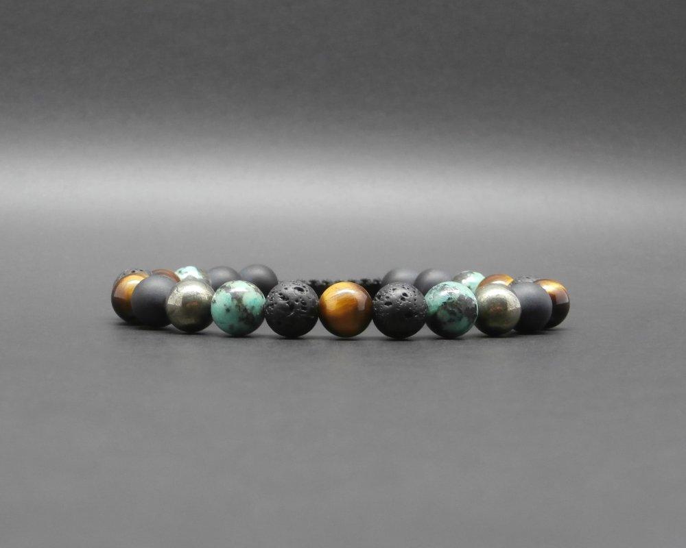 Bracelet homme, tressé, pierres gemmes, turquoise africaine, oeil de tigre, pierre de lave, pyrite, onyx noir mat Ø 8 mm