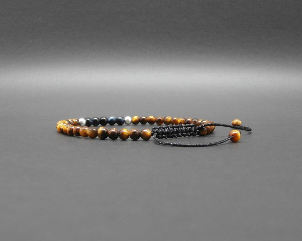 Bracelet fin homme, tressé, pierres gemmes, oeil de faucon, oeil de tigre, perles en argent Ø 4 mm