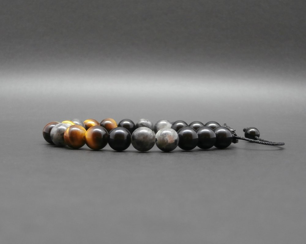 Bracelet homme, tressé, pierres gemmes, larvikite, pyrite, oeil de tigre, onyx Ø 8 mm R477