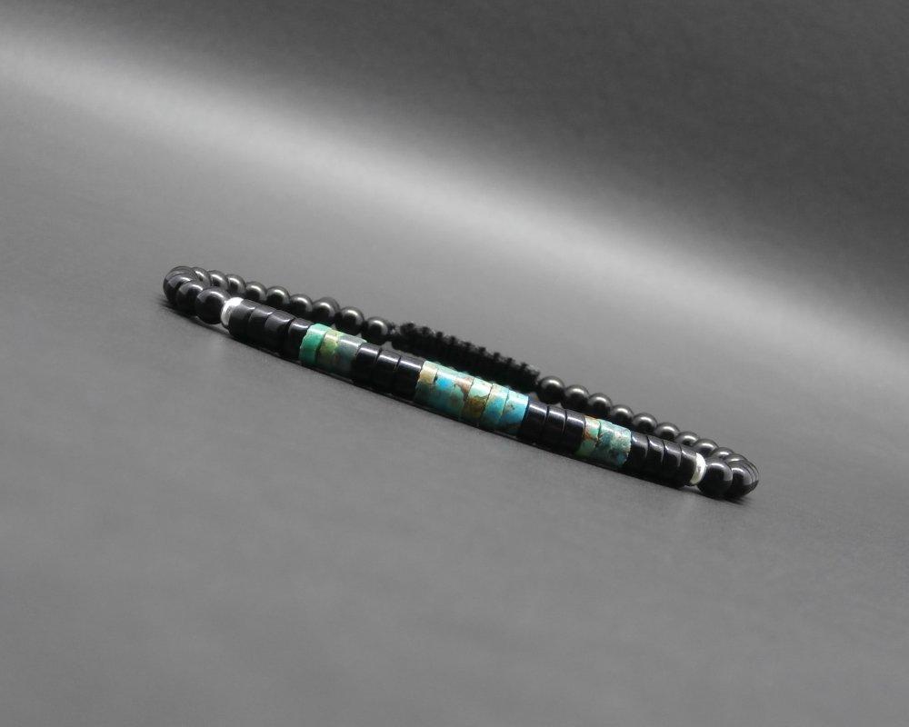 Bracelet fin homme, tressé, pierres gemmes, rondelles turquoise naturelle, onyx, perles en argent Ø 4/5 mm R986