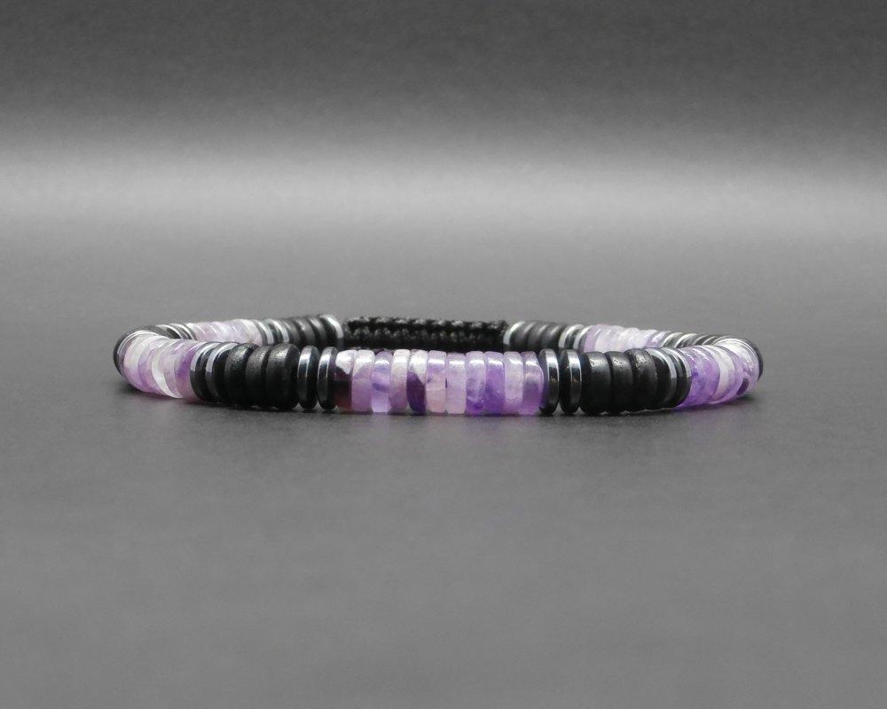 Bracelet homme, tressé, pierres gemmes, heishi d'améthyste, rondelles en os de yack noir et hématite Ø 6 mm R994